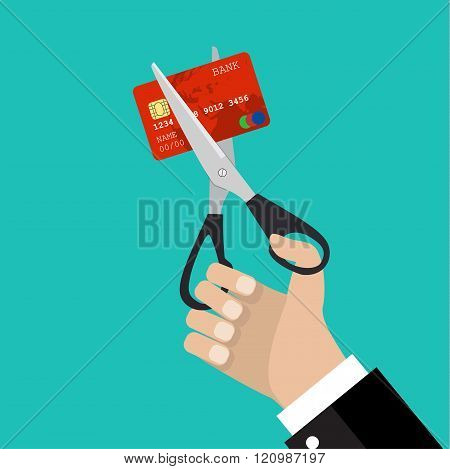 businessman hand hold scissors cutting credit card