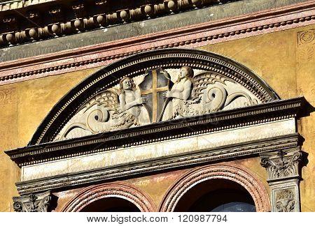 Mermaids Holding Verona City Emblem On Renaissance Loggia Del Consiglio