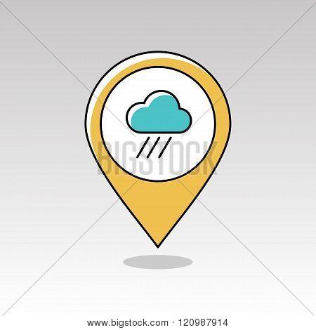 Rain Cloud Pin Map Icon. Downpour. Weather