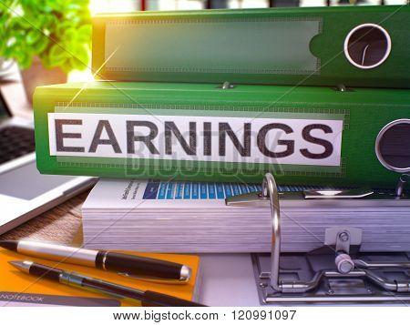 Green Office Folder with Inscription Earnings.