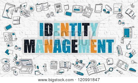 Identity Management Concept with Doodle Design Icons.