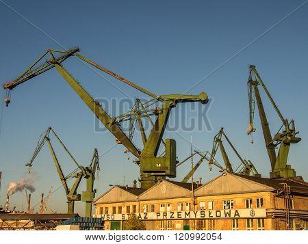 Gdansk Poland - September 27 2015:  Huge harbour cranes in the port of Gda?sk
