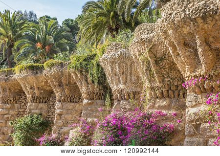 Colonnade at the park Guell in Barcelona Spain
