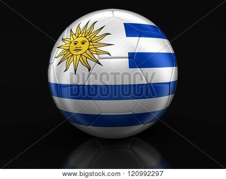 Soccer football with Uruguayan flag. Image with clipping path