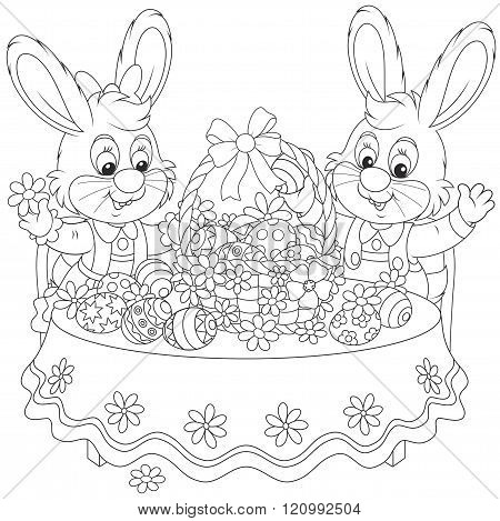 Rabbits with an Easter basket