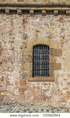 Window of the castle Montjuic in Barcelona