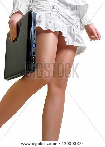 Young Woman In White Dress With Laptop Computer