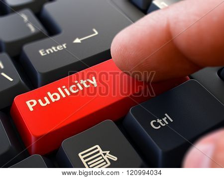 Finger Presses Red Keyboard Button Publicity.