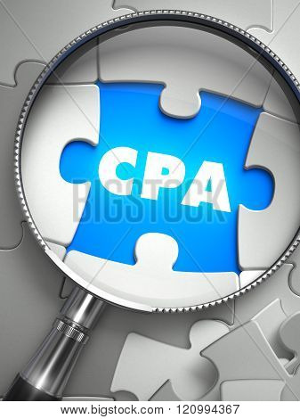 CPA - Puzzle with Missing Piece through Loupe.