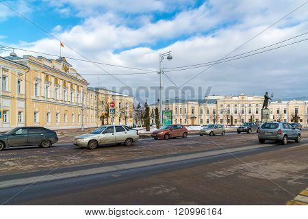 Tver, Russia - February 27. 2016.  The building of  City Administration and Main Bank in Soviet area