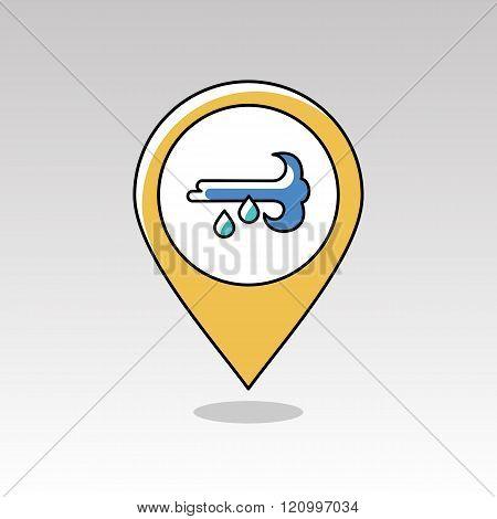 Wind Rain Pin Map Icon. Meteorology. Weather