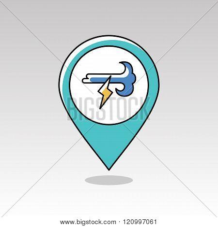 Wind Lightning Pin Map Icon. Meteorology. Weather