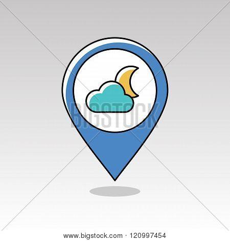 Cloud Moon Pin Map Icon. Meteorology. Weather