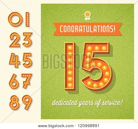 congratulations greeting card or banner design with set of lighted retro numbers. easy to edit.