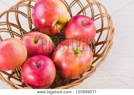 Fruit Large Red Ripe Apples In A Ped