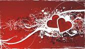 picture of broken heart flower  - wedding or valentines day illustration with red hearts anfd floral decorations - JPG
