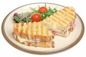 Panini with ham and cheese.