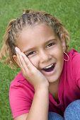 stock photo of cornrow  - Surprised Girl - JPG