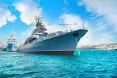 Military Navy Ship In The Bay poster