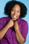 foto of black curly hair  - Laughing Young Woman - JPG