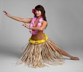 stock photo of hula dancer  - Pretty hawaiian tropical hula dancer - JPG
