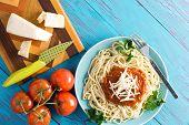 Постер, плакат: Delicious Spaghetti Dinner And Tomatoes