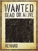 Wanted Vintage Western Poster. Aged Vector Template poster