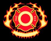 stock photo of maltese-cross  - Firefighter Cross Symbol with Flames is a six spot color illustration on black background with spaces left open for your information.