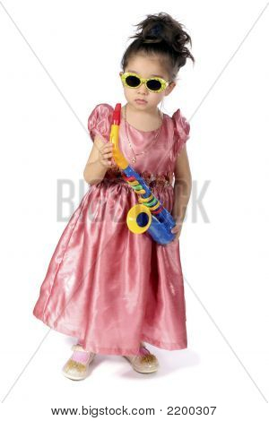 Small Girl With Saxophone