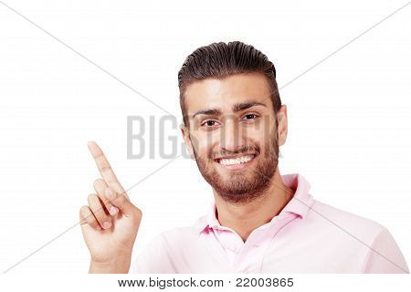 Smiling Man Pointing