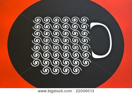 Cup Icons Line Art  On  Black And Red Background