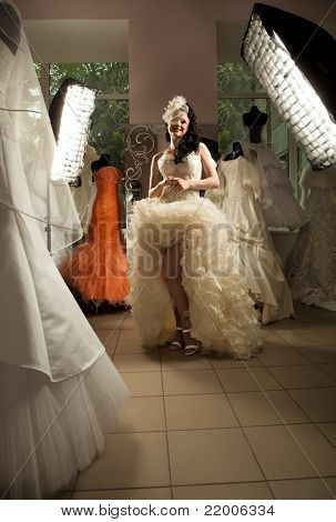 Shot of woman in Bridal Shop with softboxes