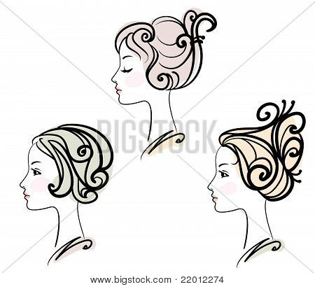 Portrait Of Three Female With Stylised Hairstyles