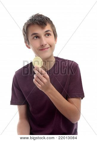 Boy With Potato Crisp Looking Sideways