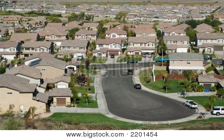 Elevated View Of  Suburban Neighborhood