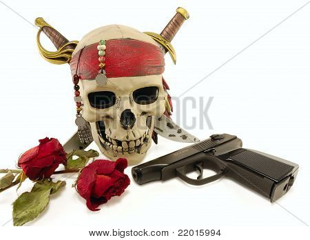 Skull With A Pistol And Dried Roses
