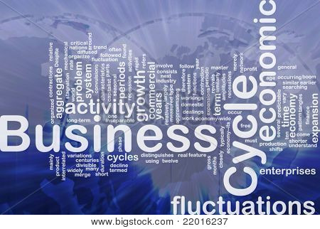 Background concept wordcloud illustration of business cycle international