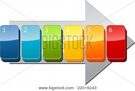 Six blank numbered sequential steps business diagram illustration