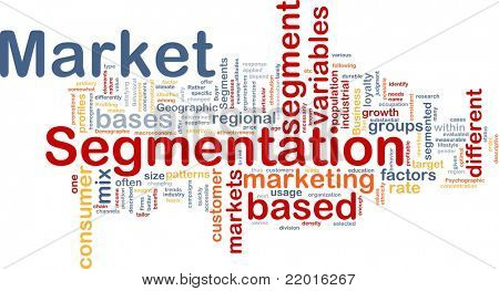 Background concept wordcloud illustration of business market segmentation