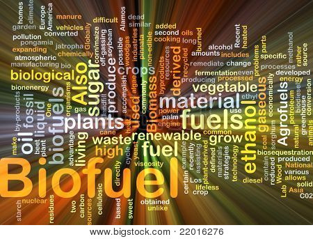 Background concept illustration of biofuel renewable fuel glowing light