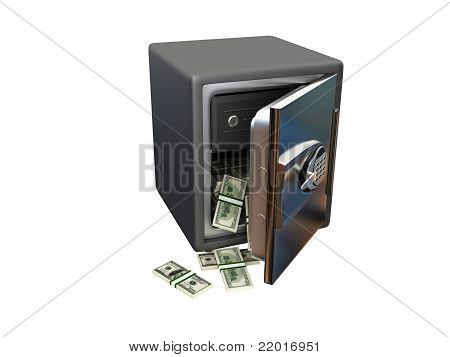 Open steel safe with money
