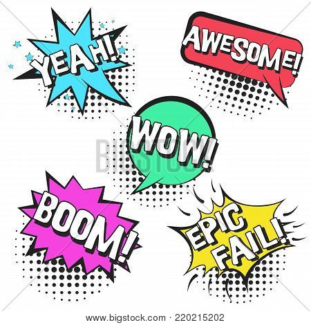 poster of Bright contrast retro comic speech bubbles set with colorful YEAH, BOOM, WOW, AWESOME, EPIC FAIL. Black outline balloons with halftone shadow in pop art style for advertisement, comics book design