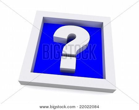 Blue 3D Question Sign