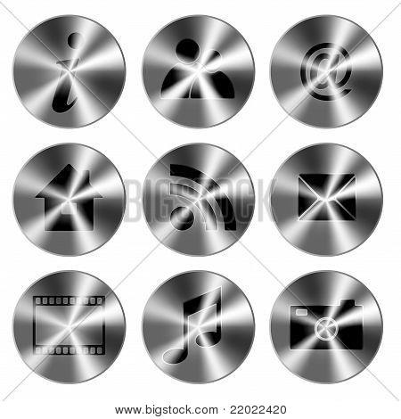 Conjunto de ícones metálicos