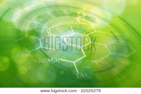 Chemical formulas & green ecology radial background - science illustration. Eps10