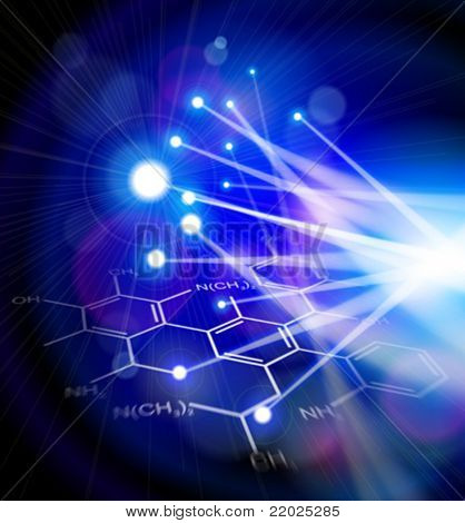 Chemical formulas & blue technology background with flashes of light from a fiber optic cable. Science illustration. Eps10