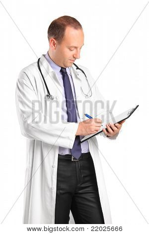 Medical doctor writing down notes isolated against white background
