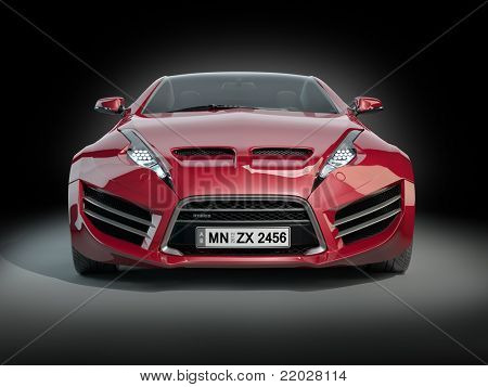 Red sports car isolated on black background. Non-branded concept car.