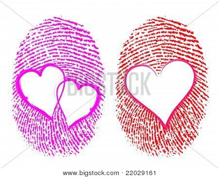 Love / Lovers concept showing the thumbprint with the heart Symbol on it.