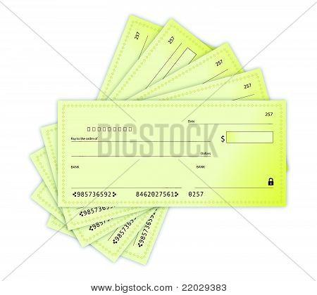 Diseño de ilustración de cheques de dinero sobre un fondo blanco
